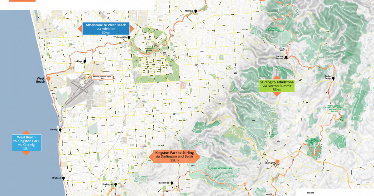 Proposed Adelaide100 Trail Route